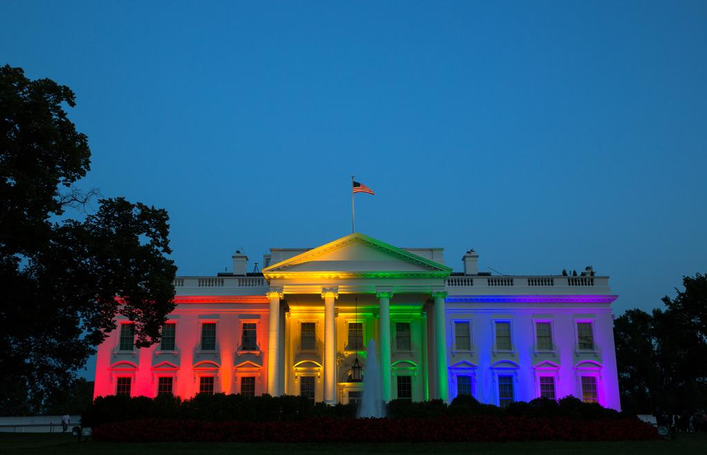 White House lit with rainbow, celebrating same-sex marriage rulings