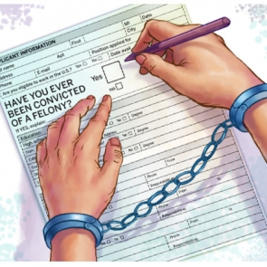 image of hands in handcuffs filling out application form with question