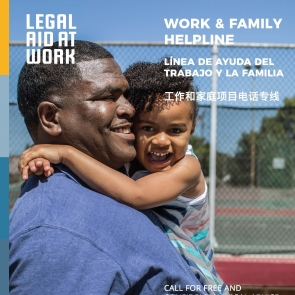 father and child with work and family helpline information