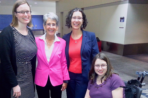 Picture of LAAW staff attorneys Julia Parish, Sharon Terman, and Rachael Langston with Hannah Beth Jackson