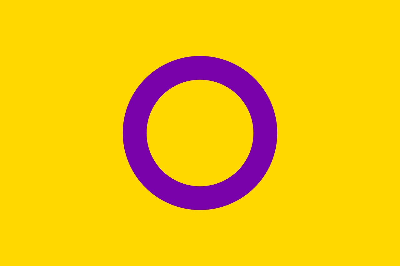 Image of Intersex Pride Flag, a purple cirlce with a yellow background