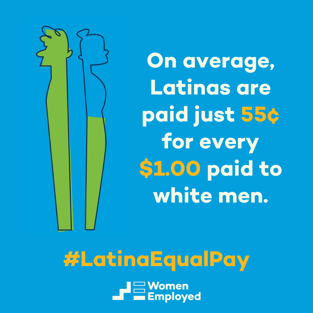 graphic shoing that, on Average, Latinas are paid just 55 cents for every dollar paid to white men