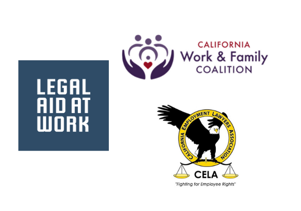 Images of logos of Legal Aid at Work, the California Work and Family Coalition, and CELA