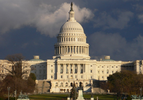 Image of U.S. Capitol Building with Dark Storm Clouds