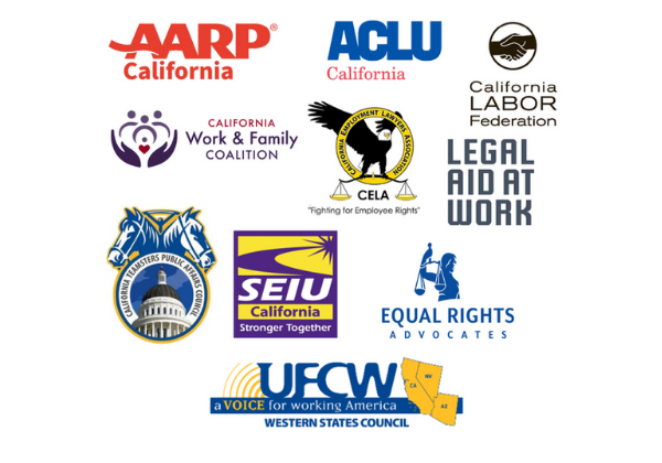 Logos of AARP, ALCU, Cal Labor Fed, the California Work & Family Coalition, CELA, Legal AId at Work, SEIU, ERA, UFCW, and California Teamsters