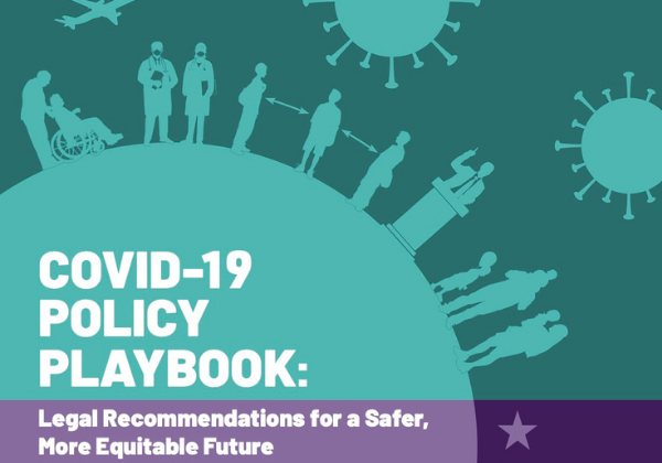 Cover of COVID-19 Policy Playbook featuring images of people on a globe with images of the coronavirus in the background