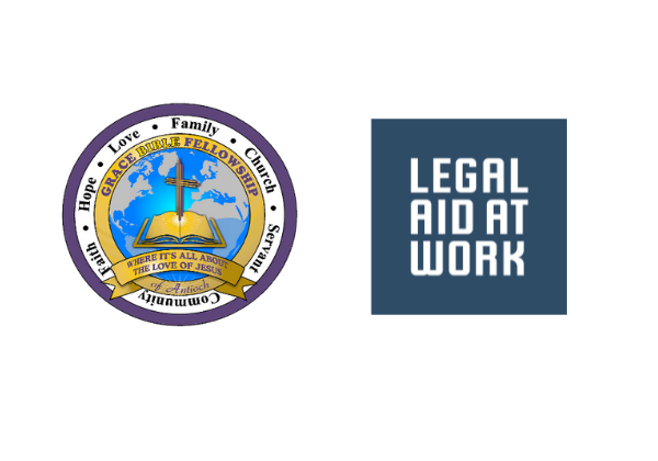 Logos of Legal Aid at Work and Grace Bible Fellowship