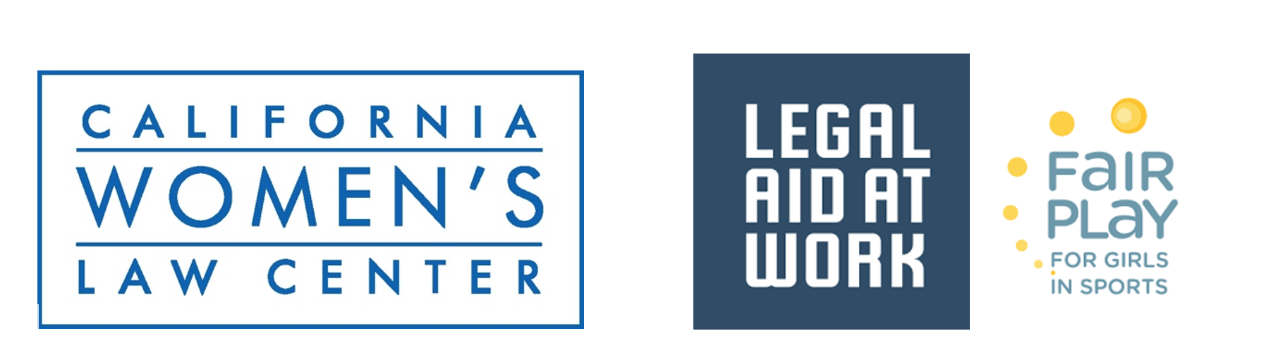 Logos of the California Women's Law Center, Legal Aid at Work, and the Fair Play for Girls in Sports Program